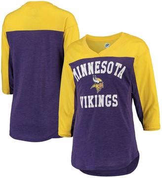 Women's Hands High Purple/Gold Minnesota Vikings In the Zone 3/4-Sleeve V-Neck T-Shirt