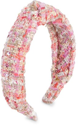 Bari Lynn Girl's Tweed Swarovski Crystal Knot Headband