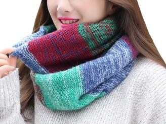 DELEY Women Ladies Vintage Loop Infinity Scarf Knitted Wool Neck Cowl Wrap Shawl Mix Colors Circle Scarves Color 1