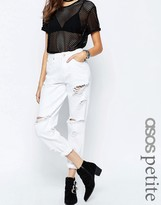 Asos Original Mom Jeans In White With Extreme Rips