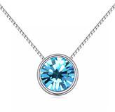 Swarovski Callura callura Women's Necklaces Aqua - Aqua Round Pendant Necklace With Crystals