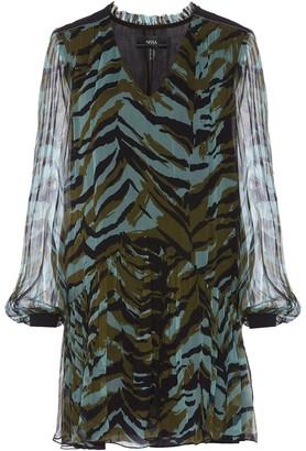 Nissa Zebra Print Silk Dress
