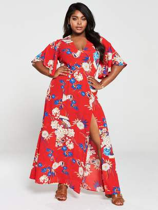 AX Paris Curve Blooming Bell Sleeve Dress - Red