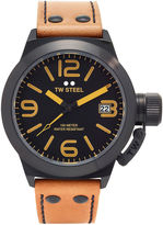 TW Steel Mens Tan and Silver-Tone Canteen Strap Watch