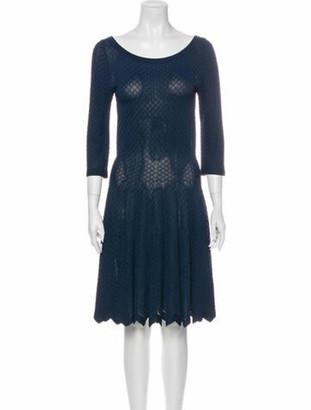 Alaia Scoop Neck Knee-Length Dress Blue