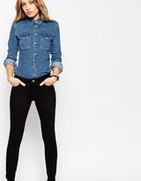 Asos Lisbon Mid Rise Skinny Jeans In Clean Black