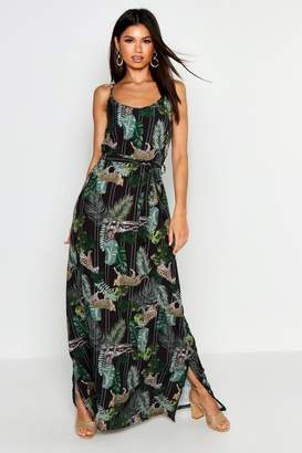 boohoo Woven Palm Leopard Strappy Maxi Dress