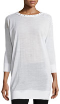 Versace 3/4-Sleeve Embellished Tunic, White