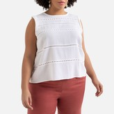 La Redoute Collections Plus Cotton Sleeveless Blouse with Round-Neck
