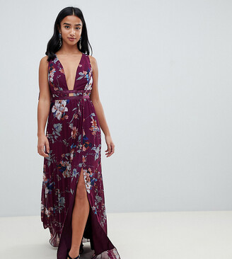 Asos DESIGN Petite pleated maxi dress with tape detail in winter floral print
