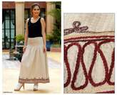 Fair Trade Embroidered Cotton Skirt from Thailand, 'Leisure'