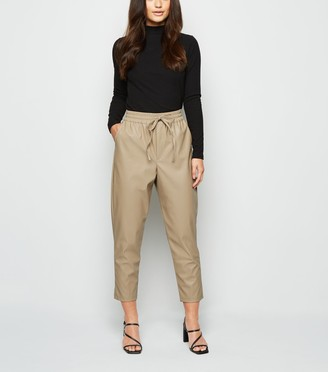 New Look Petite Coated Leather-Look Joggers