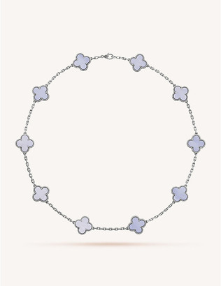 Van Cleef & Arpels Women's White Gold Vintage Alhambra And Chalcedony Necklace