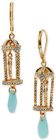 lonna & lilly Gold-Tone Birdcage and Stone Drop Earrings