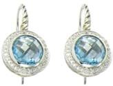 David Yurman Color Classics Sterling Silver 0.18 Ct Diamond and Blue Topaz Earrings