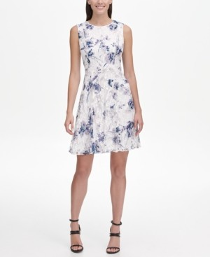 DKNY Floral Lace Fit & Flare Dress