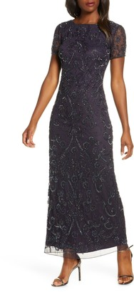 Pisarro Nights Embellished Mesh Evening Dress