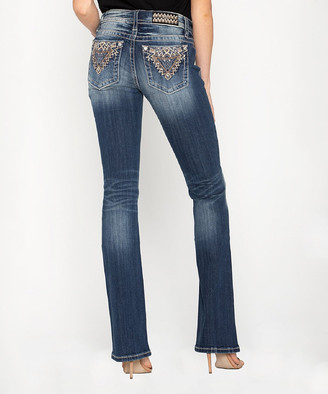 Miss Me Women's Denim Pants and Jeans D917 - Dark Blue Zigzag Embroidered-Pocket Chloe Bootcut Jeans - Women & Plus