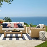 Williams-Sonoma Williams Sonoma Patio Stripe Indoor/Outdoor Rug, Dress Blue