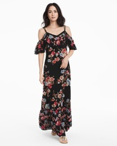 White House Black Market Floral Cold-Shoulder Embroidered Maxi Dress