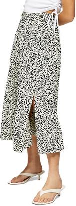 Topshop Crystal Animal Print Midi Skirt