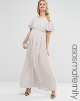 Asos Flutter Sleeve Maxi Dress With Embellished Waist Trim