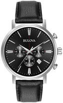 Zales Men's Bulova Classic Chronograph Strap Watch with Black Dial (Model: 96B262)