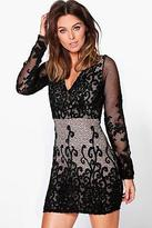 boohoo NEW Womens Charlie Print Lace Detail Bodycon Dress in Polyester