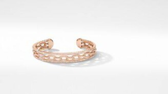 David Yurman Stax Three-Row Chain Link Bracelet In 18K Rose Gold With