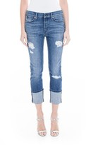 Level 99 Women's Morgan Stretch Distressed Wide Cuff Straight Leg Jeans
