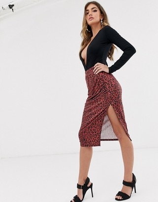 NA-KD leopard print side slit pencil skirt