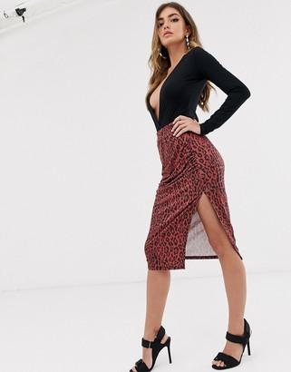 NA-KD Na Kd leopard print side slit pencil skirt-Red