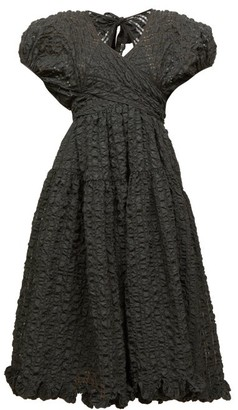 Cecilie Bahnsen Maya Cutout Tie-back Cloque Midi Dress - Black