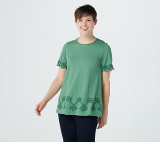 Logo by Lori Goldstein Cotton Modal Top with Embroidery