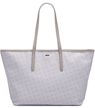 Tumi Everyday Diamond-Print Leather-Trim Canvas Tote