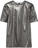 Opening Ceremony Alice Pleated Silk-blend Lamé Top - Silver