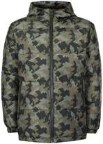 Topman Khaki Camo Hooded Puffer Jacket
