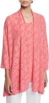 Caroline Rose Petite Rose Garden 3/4-Sleeve Side-Fall Cardigan