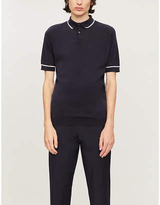 John Smedley Spring two-tone cotton-knit polo shirt