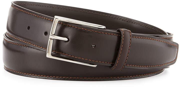 Ermenegildo Zegna Leather Belt w/Polished Buckle, Dark Brown