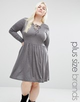 Brave Soul Plus Jersey Skater Dress With Lace Up Front