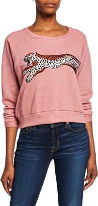 Melissa Masse Cheetah Graphic Stretch Fleece Sweatshirt