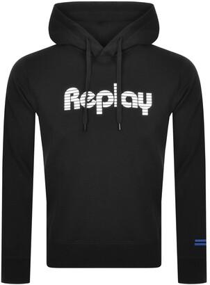 Replay Logo Hoodie Black