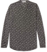 Saint Laurent Mandarin-Collar Printed Silk Shirt