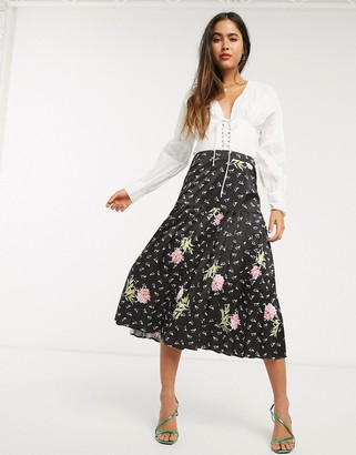 Liquorish midi skirt in black floral print