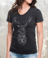 Etsy Elk Wolf Bear Totem Women's T-Shirt - American Apparel Women's Tri-Blend Tee