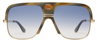 Gucci Navigator Acetate And Metal Sunglasses - Green