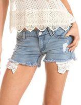 Charlotte Russe Crochet Trim Frayed Denim Short