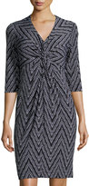 Donna Ricco Printed Twist Front Dress, Bleached White
