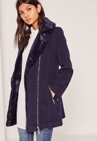 Missguided Faux Fur Lined Faux Wool Longline Biker Jacket Navy